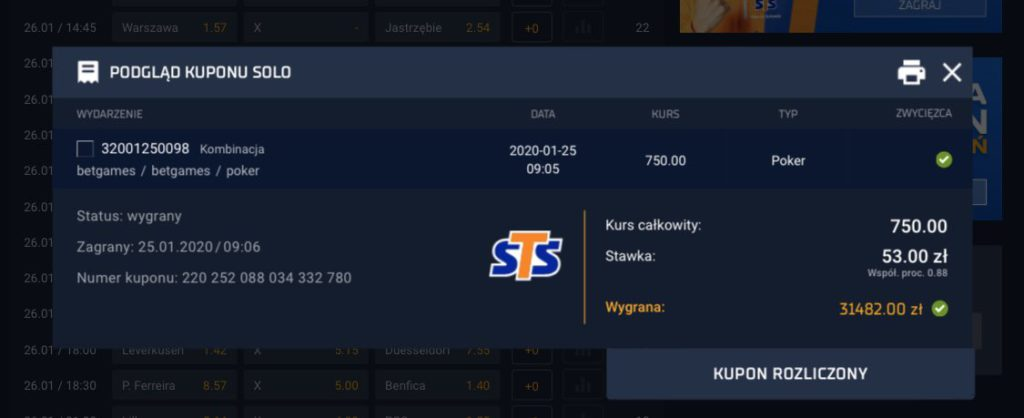 STS betgames wygrana